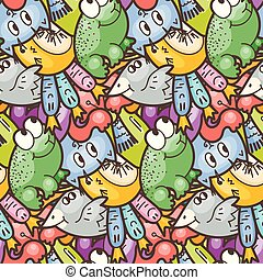 Cute seamless forest pattern with mushrooms. Nice for prints, design, colorings, cards, textile