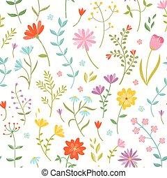 cute, seamless, padrão floral, com, primavera, flowers.