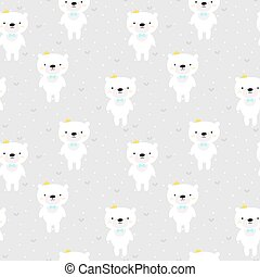 Cute seamless pattern for kids with cartoon little bears. Nursery background. Lovely smiling animals