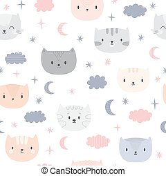 Cute seamless pattern for kids with cartoon little cats. Children background. Lovely animals