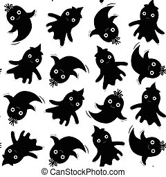 Cute seamless pattern in black with ghosts for Halloween designs, kids and baby clothing and backgrounds