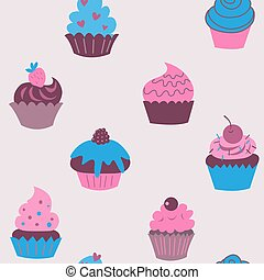 Cute seamless pattern of cupcakes with flowers