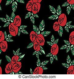 Cute seamless pattern of red roses with green leaves in doodle style on black background.