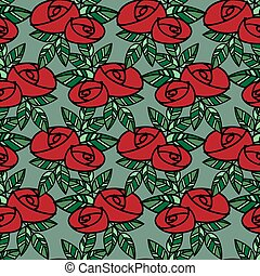 Cute seamless pattern of red roses with green leaves in doodle style on green background.