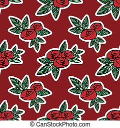 Cute seamless pattern of red roses with green leaves in doodle style on red background.