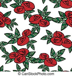 Cute seamless pattern of red roses with green leaves in doodle style on white background.
