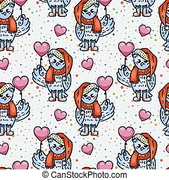 Cute seamless pattern. Owlet with balloon. Cartoon hand drawn vector illustration