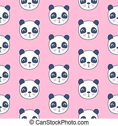 Cute seamless pattern pandas. Vector cartoon animals background.