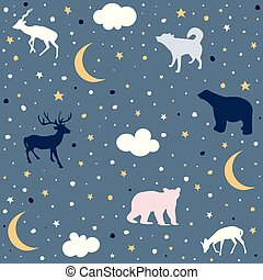 Cute Seamless Pattern With Animals