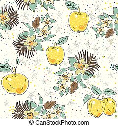Cute Seamless Pattern with Apples and Flowers. Scandinavian Hand Drawn Style.