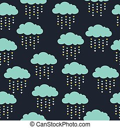 seamless pattern with blue clouds