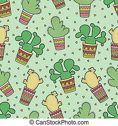 Cute seamless pattern with cactuses in the Mexican style.