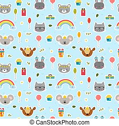 Cute seamless pattern with cartoon animals. Happy Birthday theme. Sweet background for children