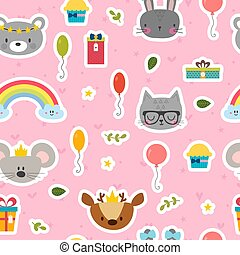 Cute seamless pattern with cartoon animals. Sweet background for children. Happy Birthday theme