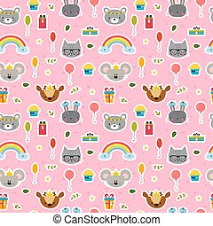 Cute seamless pattern with cartoon animals. Sweet background for children