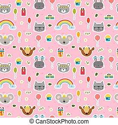 Cute seamless pattern with cartoon animals sweet background clip cute seamless pattern with cartoon animals sweet background for children voltagebd Choice Image