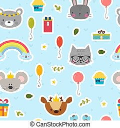 Cute seamless pattern with cartoon animals. Sweet birthday background for children