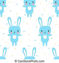 Cute seamless pattern with cartoon bunny. Funny background for little boys and girls. Cartoon baby animals