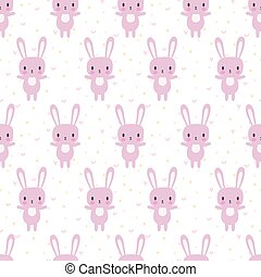 Cute seamless pattern with cartoon bunny. Funny background for little girls and boys. Cartoon baby animals