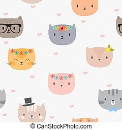 Cute seamless pattern with cartoon cats. Background for little kids. Funny animals