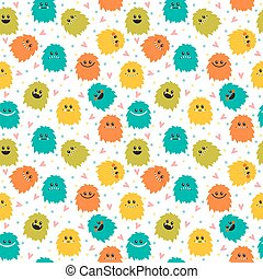 Cute seamless pattern with cartoon smiley monsters. Different fluffy monsters characters on white background