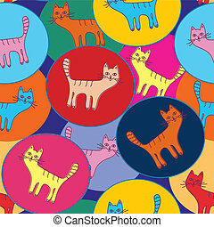 Cute  seamless pattern with cats and circles