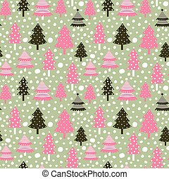 Cute seamless pattern with Christmas trees for winter designs and backgrounds