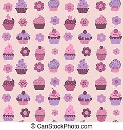 Cute seamless pattern with cupcakes and flowers and fruits
