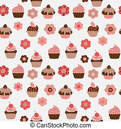 Cute seamless pattern with cupcakes and flowers