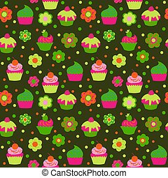 Cute seamless pattern with cupcakes on green background