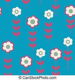 Cute seamless pattern with daisies on a blue background