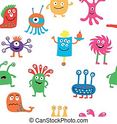 Cute seamless pattern with different cheerful monsters