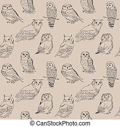 Cute seamless pattern with different wild birds