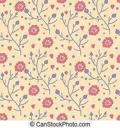 Cute seamless pattern with doodle flowers