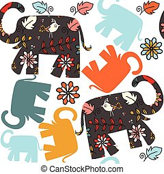 Cute seamless pattern with elephant