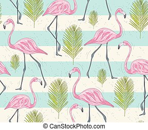 Cute seamless pattern with flamingo