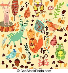 Cute seamless pattern with forest animals.Owl,squirre l, deer, nightingale, frog, rabbit.