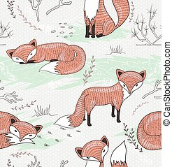 Cute seamless pattern with foxes
