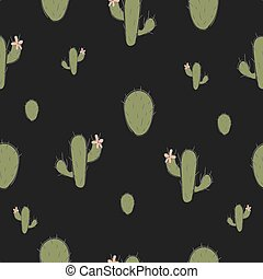 Cute seamless pattern with green cacti on black background.