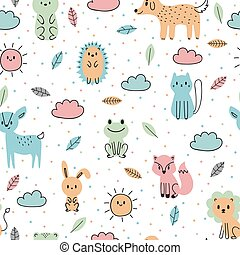 Cute seamless pattern with hand drawn animals. Trendy cartoon background