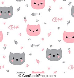 Cute seamless pattern with hand drawn cats. Background for little kids. Funny cartoon animals