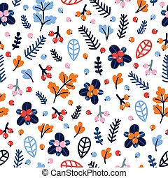 Cute seamless pattern with hand drawn flowers and berries. Floral colorful background