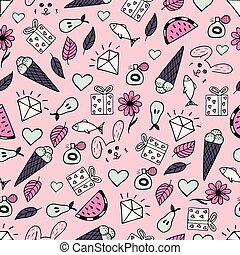 Cute seamless pattern with hand-drawn illustrations. Doodles.