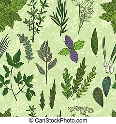 Cute seamless pattern with Herbs an