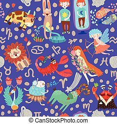 Cute seamless pattern with horoscope.Aries, taurus, gemini,cancer,leo,virgo,libra,scorpio,sagittarius, capricorn, aquarius, pisces