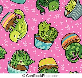 Cute seamless pattern with kawaii cats cactuses in a flowerpot. Vector illustration