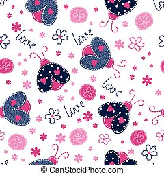 Cute seamless pattern with ladybugs
