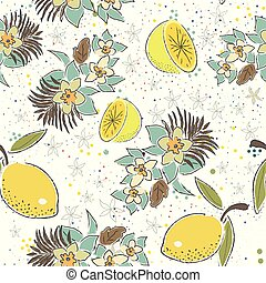 Cute Seamless Pattern with Lemons and Flowers. Scandinavian Hand Drawn Style.