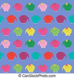 Cute seamless pattern with little cartoon elephants