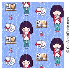 Cute seamless pattern with little girls, books, cats, white kittens and tea cup. Design for textile, fabric, card, paper, wallpaper.